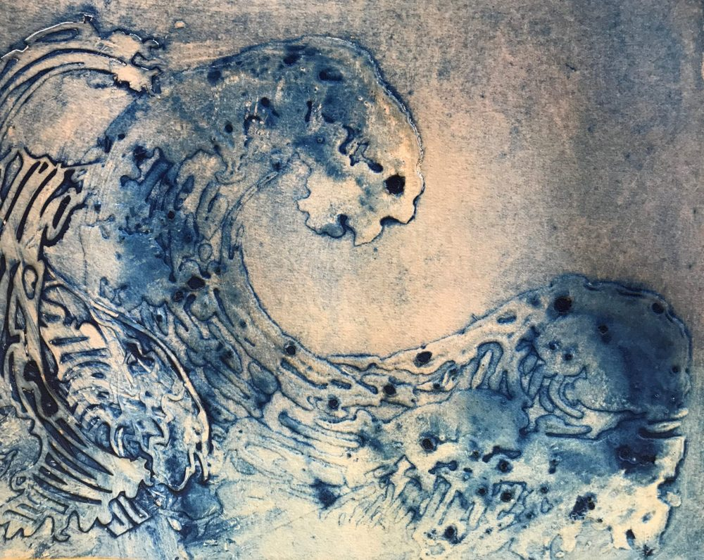Salute to a wave by Cathy Donovan Printmaker & Watercolour Artist