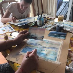 Watercolour Workshop in progress in Apollo Bay with Cathy Donovan Watercolour Artist